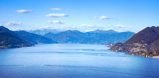 Maggiore lake panoramic view from Mottarone Stresa. Piedmont Ita. Ly Europe Stock Images