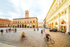 Maggiore square in Bologna city Stock Photo
