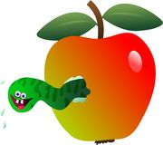 Maggot apple Stock Image