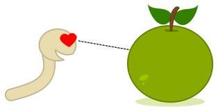 A maggot looking at an apple Stock Image