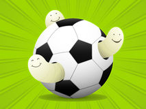 Maggots play soccer. Three maggots celebrating a soccer party stock illustration