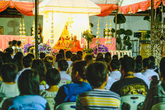 Magha Puja Day with Buddhist monks preached in Wat Arun temple at Night .Bangkok, Thailand Royalty Free Stock Photo