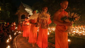 Magha puja day, Monks light the candle for buddha, Royalty Free Stock Image