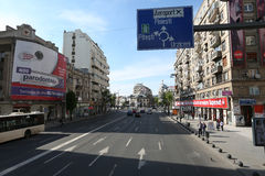 Magheru大道在布加勒斯特 免版税库存图片