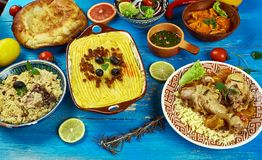 Maghreb cuisine. Traditional assorted Maghreb dishes, Top view Royalty Free Stock Image