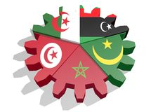 Maghreb members national flags Stock Photo