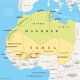 Maghreb and Sahel Political Map. With capitals and national borders. English labeling and scaling. Illustration Stock Photos