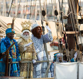 Magi arriving in port. BARCELONA, SPAIN – JANUARY 5, 2017:  Three Magi arriving at port aboard ship to greet people. Barcelona, Spain Royalty Free Stock Images