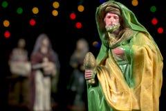 The magi Caspar. Nativity scene figurines. Christmas traditions. Stock Photos