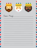 Magi Christmas letter. US letter size Christmas letter to the Magi illustrated on lined paper Stock Images
