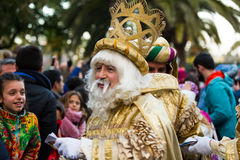 Magi collecting letters. BARCELONA, SPAIN – JANUARY 5, 2017:  Three Magi collecting children's letters at port during celebration. Barcelona, Spain Stock Images