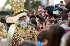 Magi collecting letters. BARCELONA, SPAIN – JANUARY 5, 2017:  Three Magi gathering children's letters at port during celebrations. Barcelona, Catalonia Royalty Free Stock Photography
