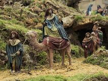 The Magi kings on the way to belen. Decorative figures of traditional in Christmas of the portal of belen royalty free stock images