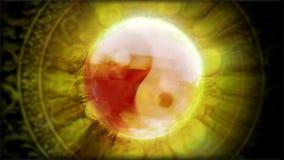 Magi klumpa ihop sig Tao symbol och rikedom stock video