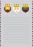 Magi letterhead. Christmas letterhead with Magi on lined A4 sized page Stock Images
