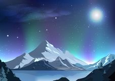 Magia di scena di notte dell'aurora del fondo dell'estratto della luna piena di fantasia royalty illustrazione gratis