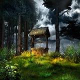 Magia dobrze w lesie royalty ilustracja