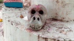 Magia negra del sadhna del tantra del cráneo religiosa fotografía de archivo libre de regalías