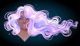 Magia scura La ragazza misteriosa con la galassia compone e con il cielo illustrazione di stock
