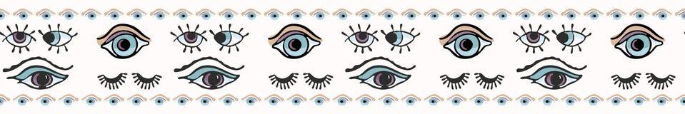 Magia Wszystkie Widzii oko wektoru granicy ręka Rysująca Bezszwowa ilustracja ilustracji