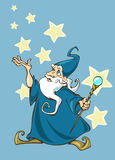 Magic. Illustration of a cartoon wizard with a magic stick in his hands Stock Image