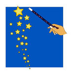 Magic. Hand holding a magic wand throwing stars like in fairy tales Stock Image