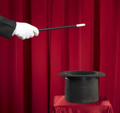 Magic. Ian Holding  Wand and Top Hat Royalty Free Stock Images