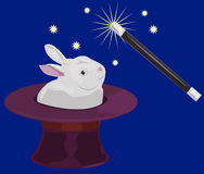 Magic. Wand and rabbit appearing in top hat royalty free illustration