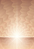 Magic abstract background with rays of light. Alien world with distant horizon and sky with wavy clouds. Vector illustration for a religious book cover. Magic Royalty Free Stock Photo