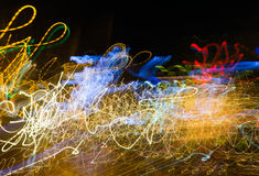 Magic abstract light trails in random motion - abstract background image stock image