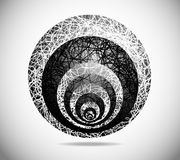 Magic abstract sphere. Magic sphere with black-and-white abstract drawing Stock Image