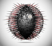 Magic abstract sphere. Of thin lines with thorns Royalty Free Stock Photography
