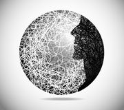 Magic abstract sphere. With the face of males Royalty Free Stock Photo