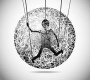 Magic abstract sphere. Of fine lines with marionette Royalty Free Stock Photo