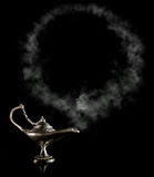 Magic Aladdin Lamp with smoke frame Stock Photos