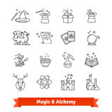 Magic and Alchemy thin line art icons set. Fairy tale, fantasy, fiction books. Linear style symbols isolated on white Royalty Free Stock Photo