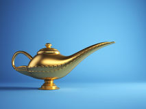 Magic Alladin lamp. Golden magic Aladdin lamp on blue background - 3d render vector illustration
