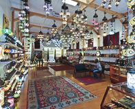 A Magic Art Gallery in Santa Fe. SANTA FE, NEW MEXICO, JULY 6. The Magic Art Gallery on July 6, 2017, in Santa Fe, New Mexico. The Mosaic Lights and Kilims in Stock Photography