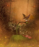 Magic autumn forest. Bird sitting on a magic leaf in the forest vector illustration