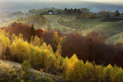 Magic autumn light in Transylvania Stock Image