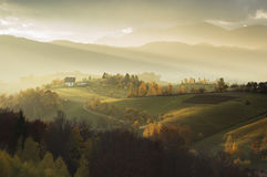 Magic autumn sunset light in Transylvania Stock Photo