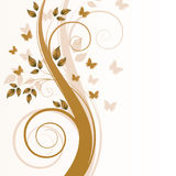 Magic autumn tree. With butterflies and space for text Stock Illustration