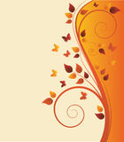 Magic autumn tree with butterflies Stock Photo