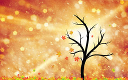 Magic autumn tree with leaves in the wind illustration Royalty Free Stock Photos