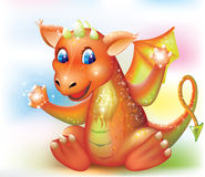 Magic baby dragon cartoon Stock Image