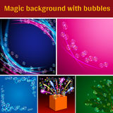 Magic background with bubbles. Transparent Soap Bubbles on Magic Backdrop Set. Colored Wave. Magic Box with Firework. Green Leaves with Bubbles. Blue, Pink, Dark Royalty Free Stock Photos