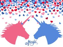 Magic background with falling hearts and two unicorns in love. Vector illustration vector illustration