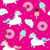 Vector pattern with cute unicorns, clouds, donuts and ice cream. stock illustration