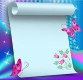 Magic background with paper scroll Stock Photos