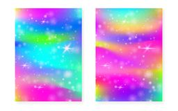 Magic background with princess rainbow gradient. Kawaii unicorn. Hologram. Holographic fairy set. Spectrum fantasy cover. Magic background with sparkles and vector illustration
